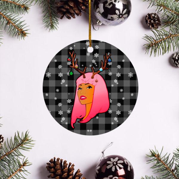 Nicki Minaj Merry Christmas Circle Ornament