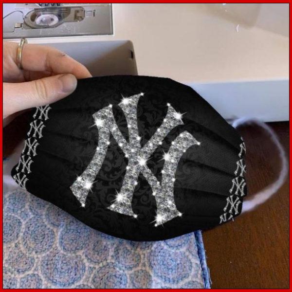 New York Yankees glitter diamond cloth face mask reusable
