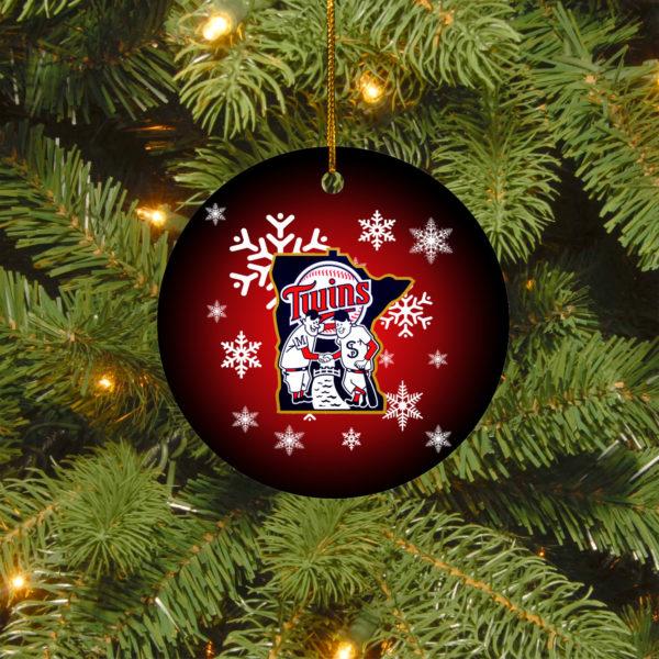 Minnesota Twins Merry Christmas Circle Ornament