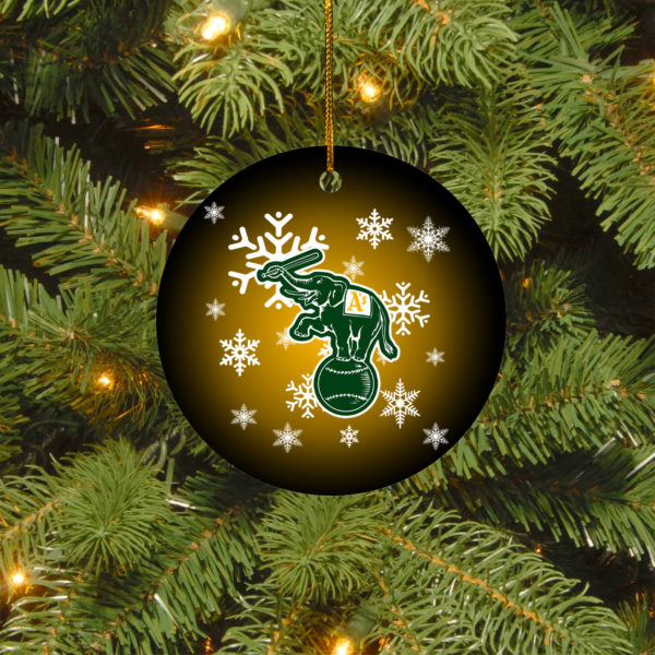 Oakland Athletics Merry Christmas Circle Ornament