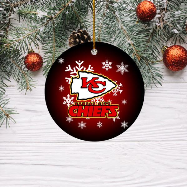 Kansas City Chiefs Merry Christmas Circle Ornament