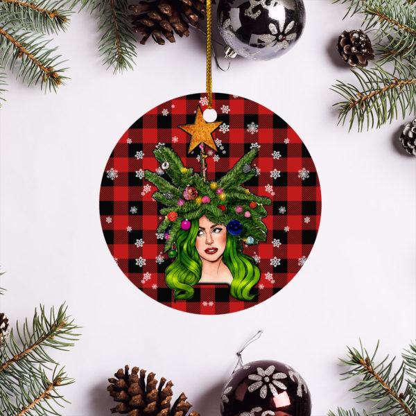 Lady Gaga Merry Christmas Circle Ornament