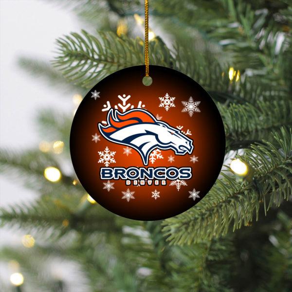 Denver Broncos Christmas Merry Christmas Circle Ornament