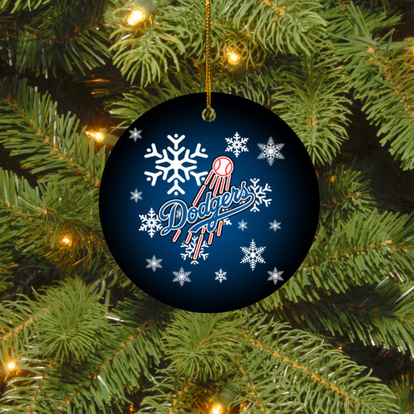 Los Angeles Dodgers Merry Christmas Circle Ornament