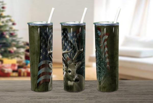 Deer And Flag American Skinny Tumbler