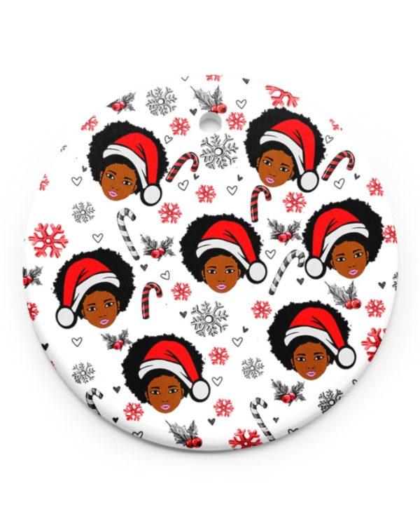 Black Women Christmas Pattern Ornament