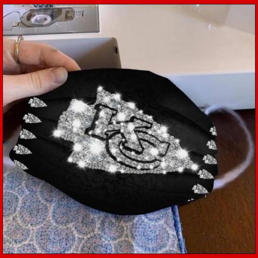 Kansas City Chiefs glitter diamond cloth face mask reusable