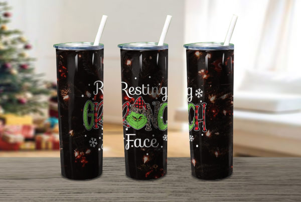Resting Grinch Face Christmas Skinny Tumbler