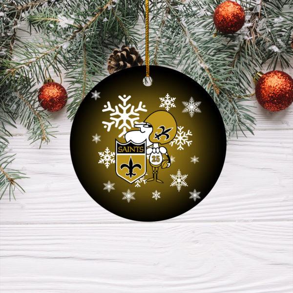 New Orleans Saints Merry Christmas Circle Ornament