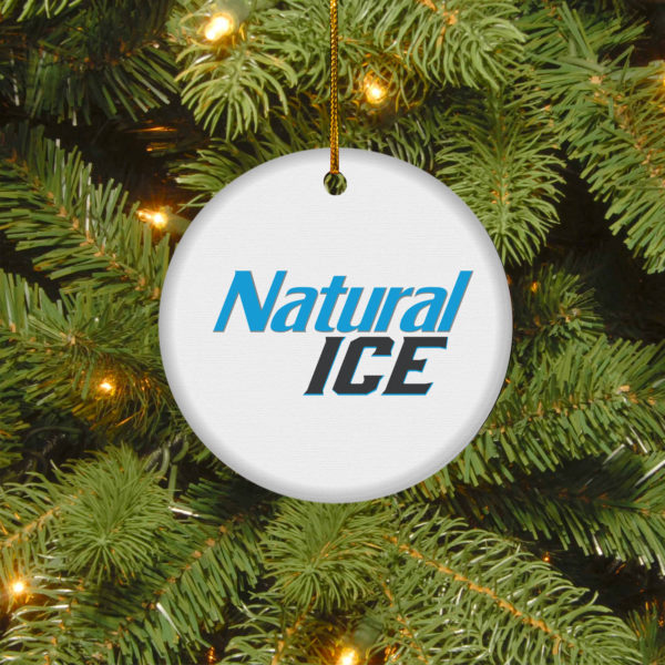 Natural Ice Merry Christmas Circle Ornament