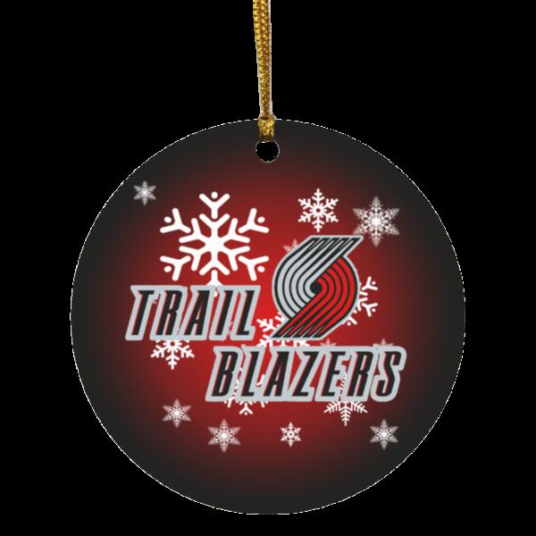 Portland Trail Blazers Merry Christmas Circle Ornament