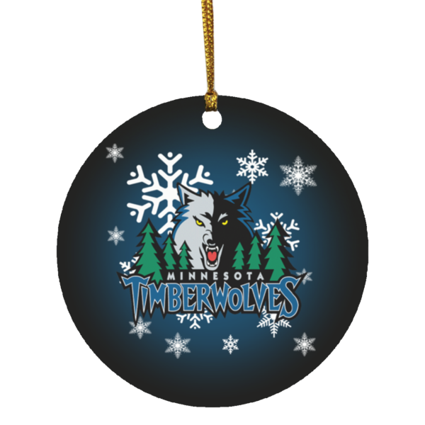 Minnesota Timberwolves Merry Christmas Circle Ornament