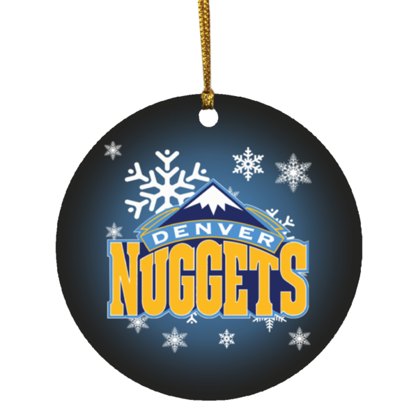 Denver Nuggets Merry Christmas Circle Ornament