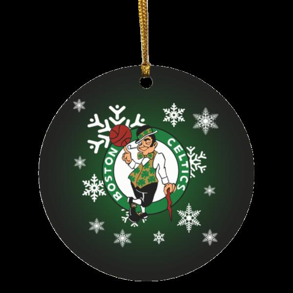 Boston Celtics Merry Christmas Circle Ornament
