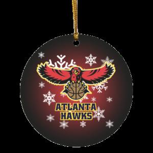 Atlanta Hawks Merry Christmas Circle Ornament