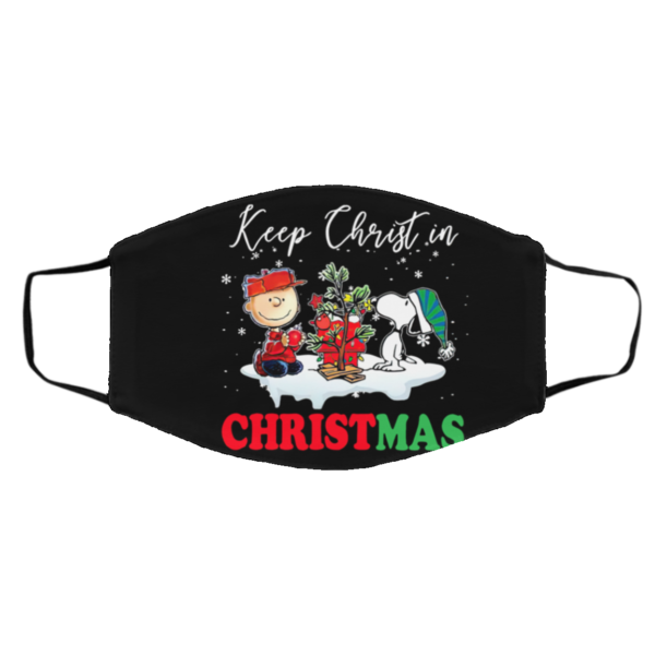 Snoopy And Charlie Brown Keep Christ In Christmas face mask