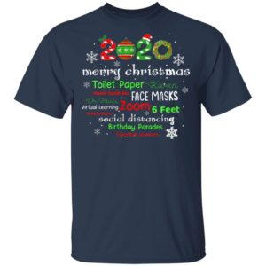 Womens Christmas 2020 in Quarantine with Face Mask Stay 6 Feet T-Shirt