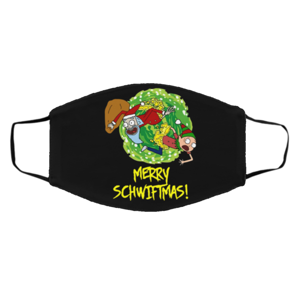 Ugly Christmas Rick And Morty Merry Schwiftmas face mask
