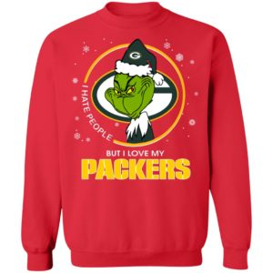 I Hate People But I Love My Green Bay Packers Grinch Shirt