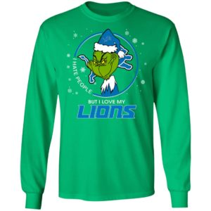 I Hate People But I Love My Detroit Lions Grinch Shirt