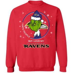 I Hate People But I Love My Baltimore Ravens Grinch Shirt