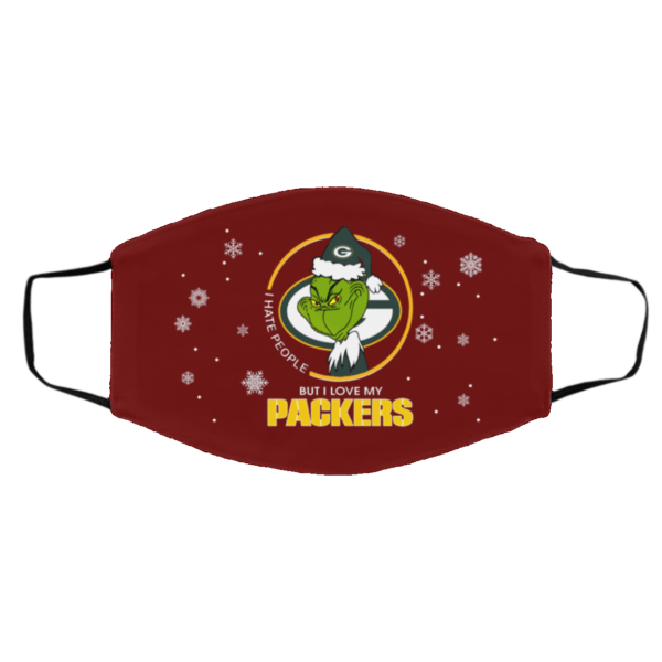 I Hate People But I Love My Green Bay Packers Grinch Face Mask