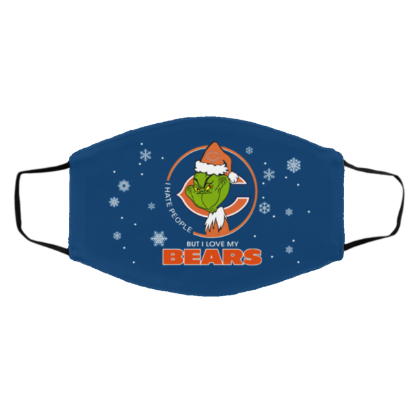 I Hate People But I Love My Chicago Bears Grinch Face Mask