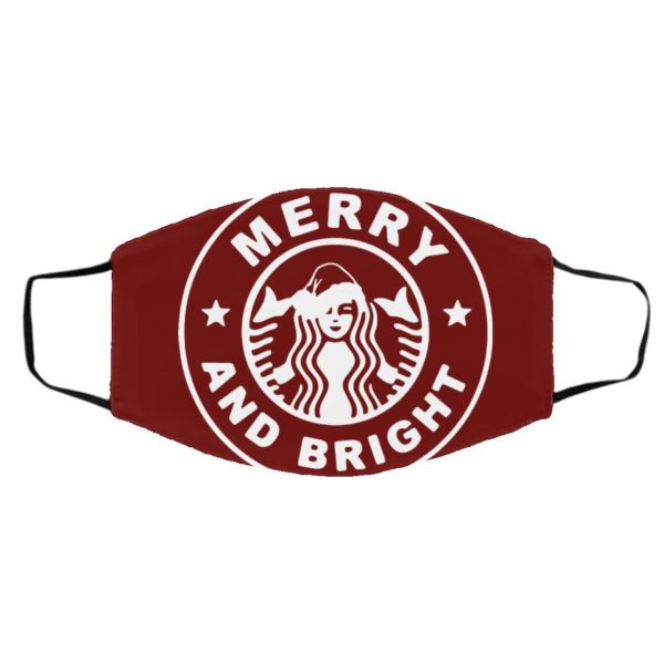 Starbuck Coffee Merry And Bright face mask
