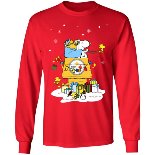 Pittsburgh Steelers Santa Snoopy Wish You A Merry Christmas Shirt