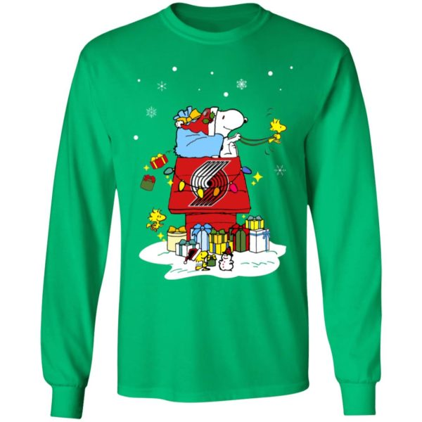 Portland Trail Blazers Santa Snoopy Wish You A Merry Christmas Shirt