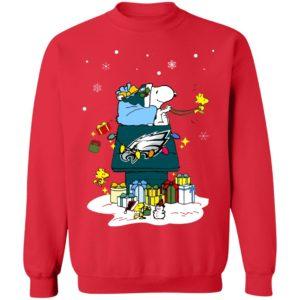 Philadelphia Eagles Santa Snoopy Wish You A Merry Christmas Shirt
