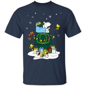 Oregon Ducks Santa Snoopy Wish You A Merry Christmas Shirt
