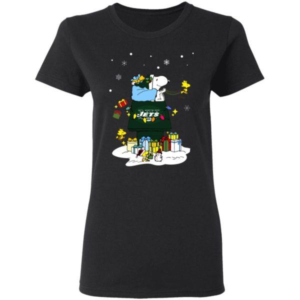 New York Jets Santa Snoopy Wish You A Merry Christmas Shirt