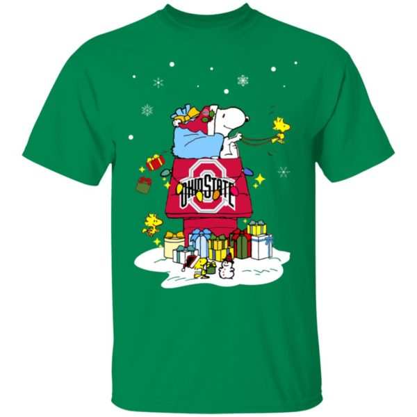 Ohio State Buckeyes Santa Snoopy Wish You A Merry Christmas Shirt