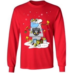 Oakland Raiders Santa Snoopy Wish You A Merry Christmas Shirt
