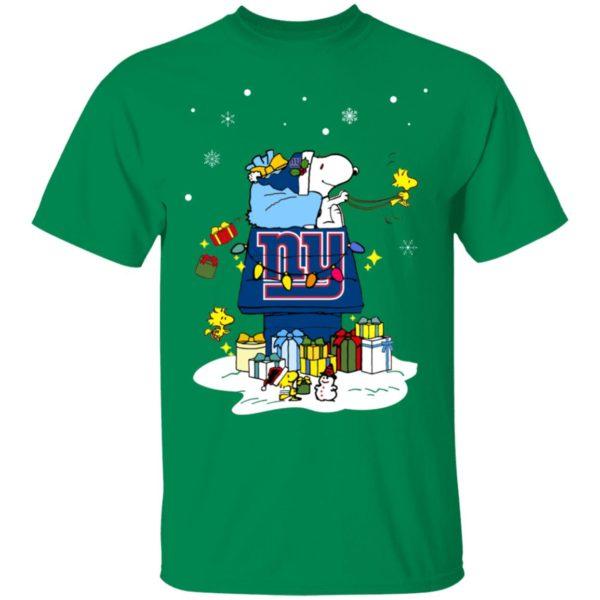 New York Giants Santa Snoopy Wish You A Merry Christmas Shirt