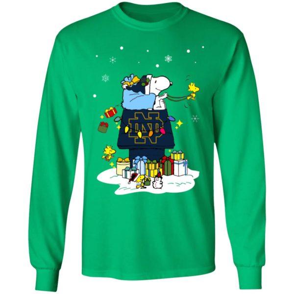 Notre Dame Fighting Irish Santa Snoopy Wish You A Merry Christmas Shirt