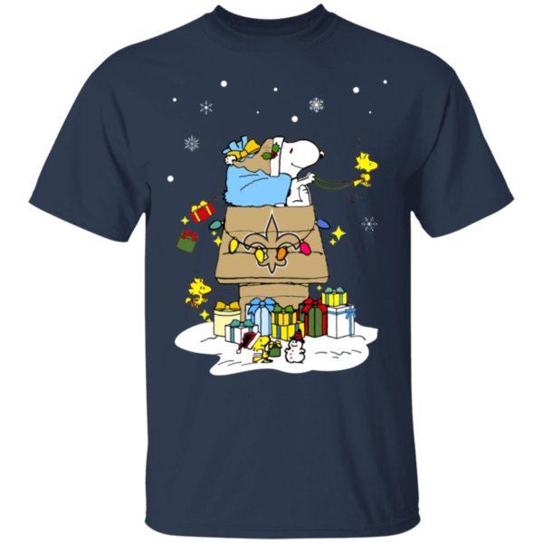 New Orleans Saints Santa Snoopy Wish You A Merry Christmas Shirt
