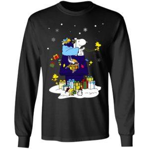 Minnesota Vikings Santa Snoopy Wish You A Merry Christmas Shirt