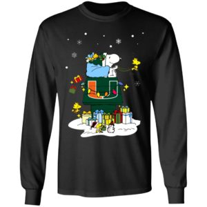 Miami Hurricanes Santa Snoopy Wish You A Merry Christmas Shirt