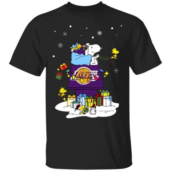 Los Angeles Lakers Santa Snoopy Wish You A Merry Christmas Shirt