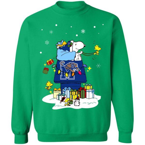 Memphis Tigers Santa Snoopy Wish You A Merry Christmas Shirt