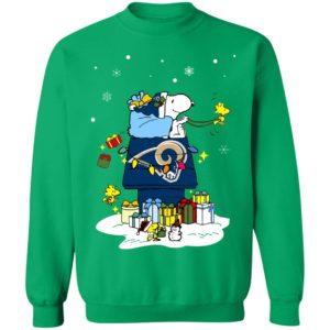 Los Angeles Rams Santa Snoopy Wish You A Merry Christmas Shirt