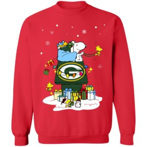 Green Bay Packers Santa Snoopy Wish You A Merry Christmas Shirt