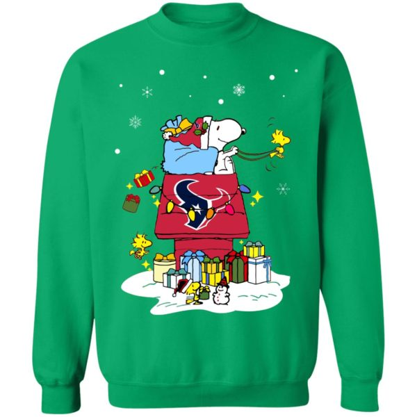 Houston Texans Santa Snoopy Wish You A Merry Christmas Shirt