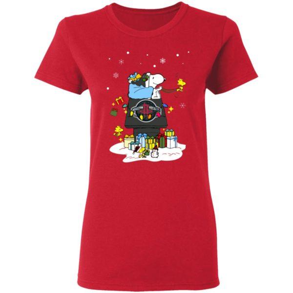 Houston Rockets Santa Snoopy Wish You A Merry Christmas Shirt