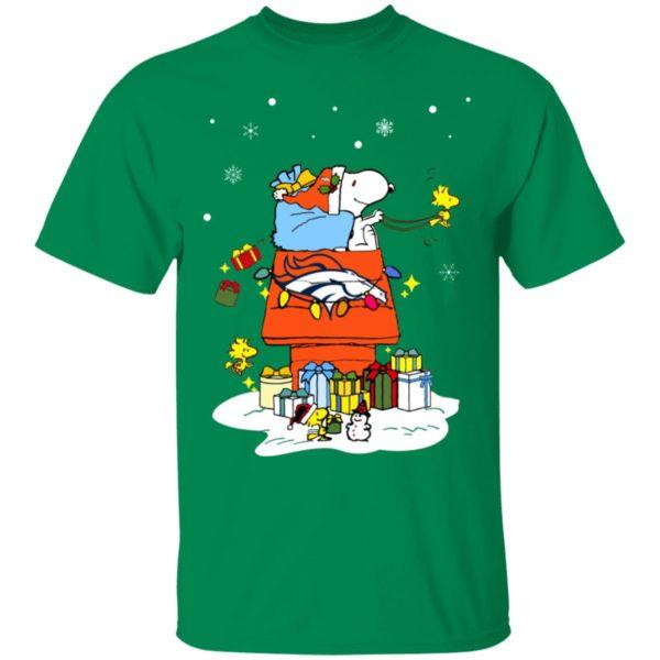 Denver Broncos Santa Snoopy Wish You A Merry Christmas Shirt