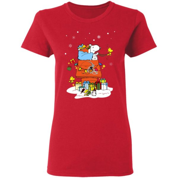Cleveland Browns Santa Snoopy Wish You A Merry Christmas Shirt