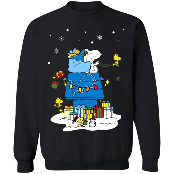Detroit Lions Santa Snoopy Wish You A Merry Christmas Shirt