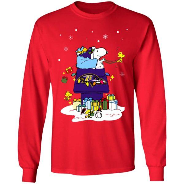 Baltimore Ravens Santa Snoopy Wish You A Merry Christmas Shirt
